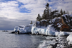 Northern shoreline - Explored! (KarenR-TB) Tags: winter snow ice minnesota lakesuperior