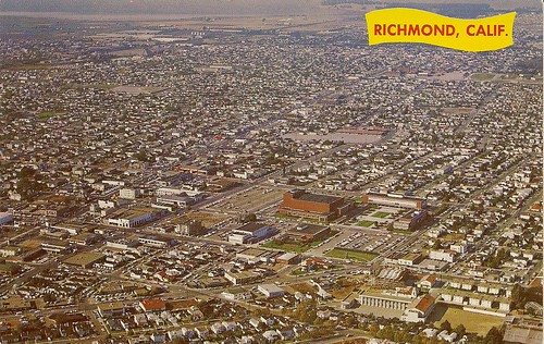 Aerial view of Richmond, circa 1953. Natural Color by Mike Roberts, Berkeley, 2, Calif.