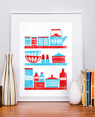 In the Kitchen (h4ndz) Tags: kitchen colors vintage print poster bowl retro shelf teapot letterpress midcenturymodern enamel stiglindberg catherineholm cathrineholm
