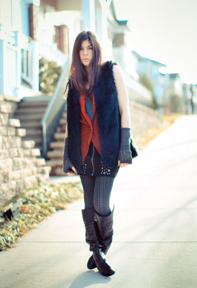 fashion, outfit, Gucci boots, Studded miniskirt, fur, h&m