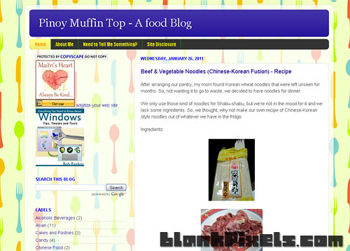 PinoyMuffinTop.com's theme BEFORE the makeover - blankpixels.com