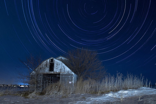 Abandoned Barn Under Star Trails