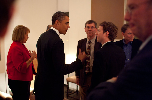 President Barack Obama talks with Facebook founder and CEO Mark Zuckerberg before a dinner with Technology Business Leaders in Woodside, California, Feb. 17, 2011. Also pictured, left to right, are Carol Bartz, Yahoo! President and CEO; Art Levinson, Genentech Chairman and former CEO; Steve Westly, Founder and Managing Partner, The Westly Group; and Eric Schmidt, Executive Chairman and CEO of Google. (Official White House Photo by Pete Souza)