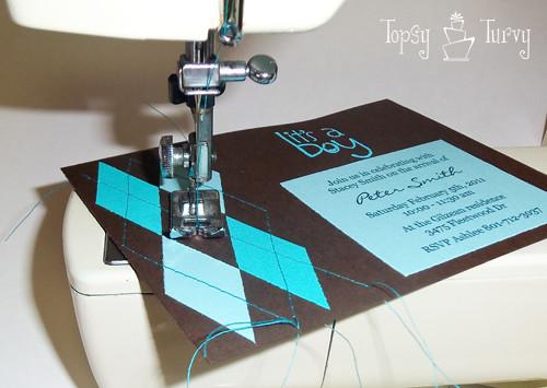 argyle baby shower invitation sewing machine lines