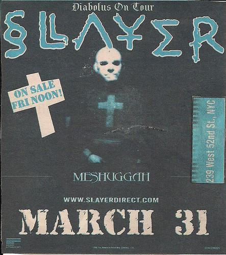 03/31/99 Slayer/Meshuggah @ NYC, NY
