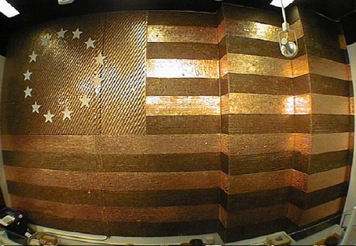 Flag made from pennies