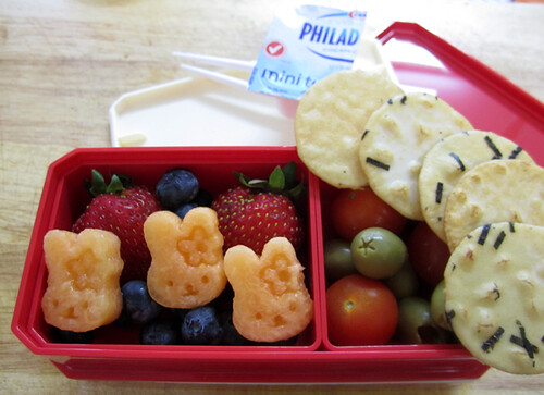 fruit salad, tomato and olive bento