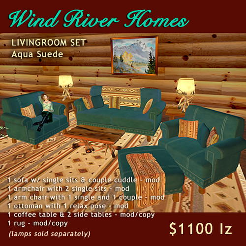 Rustic Livingroom Set - Aqua Suede by Teal Freenote