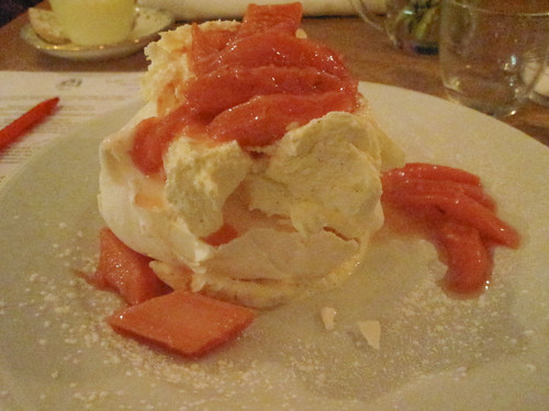Meringue with forced rhubarb compote and double cream