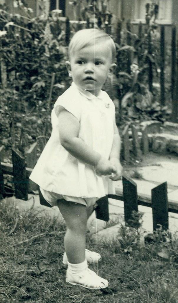 Glenn McCreath in back garden 1958