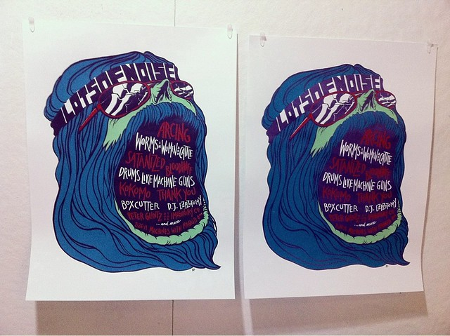 2 of 3 colorways for LOTSOFNOISE poster