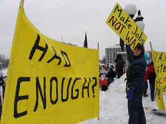 Anti-war message at a Minnesota rally in solidarity with Wisconsin unions