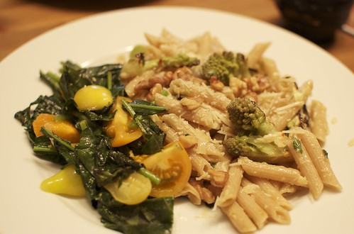 Roasted garlic and broccoli pasta with sauteed greens and tomatoes