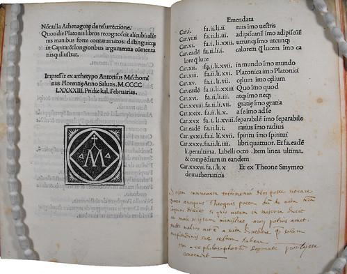 Colophon and manuscript notes in Ficinus, Marsilius: Liber de sole et lumine