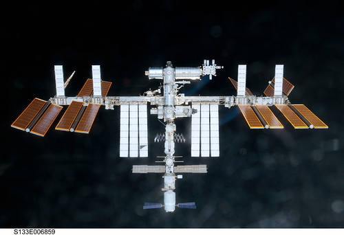 "International Space Station (NASA, 02/26/11) <i>Editors note: obviously this isnt an image of Earth, but its a beautiful shot of the International Space Station, which has been providing us with all these beautiful images of our planet. It deserves to take a little bow!</i>  The International Space Station is featured in this image photographed by an STS-133 crew member on space shuttle Discovery as the shuttle approaches the station during rendezvous and docking operations. Docking occurred at 2:14 p.m. (EST) on Feb. 26, 2011. Photo credit: NASA or National Aeronautics and Space Administration   Image credit: NASA   View original image: <a href=""http://spaceflight.nasa.gov/gallery/images/station/crew-26/html/s133e006859.html"" rel=""nofollow"">spaceflight.nasa.gov/gallery/images/station/crew-26/html/...</a>  More about space station research: <a href=""http://www.nasa.gov/mission_pages/station/research/index.html"" rel=""nofollow"">www.nasa.gov/mission_pages/station/research/index.html</a>  Theres a Flickr group about Space Station Research. Please feel welcome to join! <a href=""http://www.flickr.com/groups/stationscience/"">www.flickr.com/groups/stationscience/</a>"