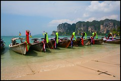 Taxi Rank, West Railay. (konstantynowicz) Tags: sea color colour beach canon thailand boats coast sand asia waves tide canon350d phuket longtail krabi westrailay platinumheartaward mygearandme mygearandmepremium mygearandmebronze mygearandmesilver mygearandmegold