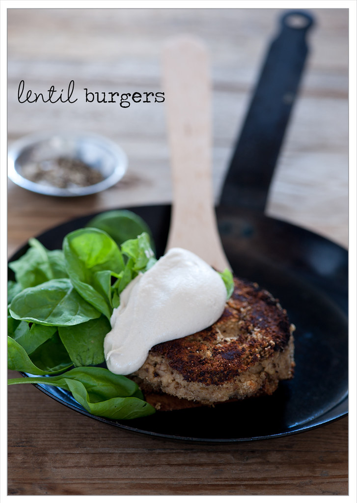 w3 lentil burger with tahini sauce