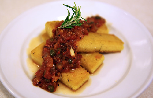 Polenta with Peppery Caper Tomato Sauce