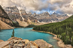 A View from the Rockpile (Jeff Clow) Tags: lake mountains landscape raw stormy albertacanada stormclouds banffnationalpark morainelake canadianrockies 1exp