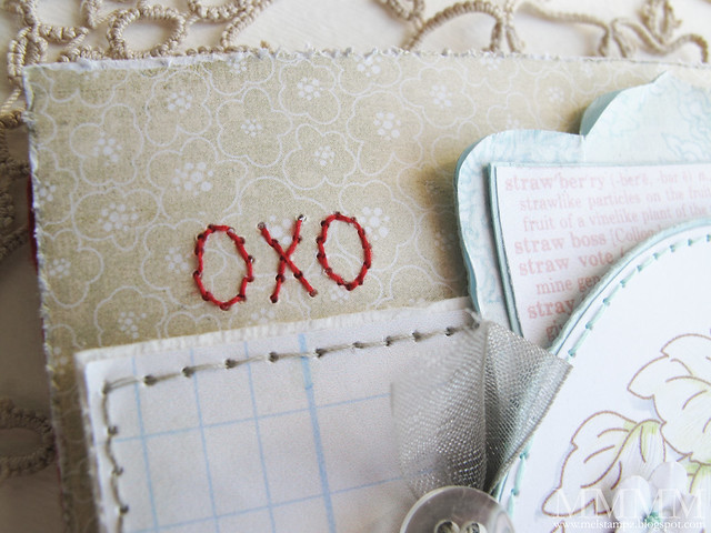 draw oxo in pencil -pierce with a paper piercing tool - stitch with red thread