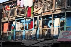 Laundry day (siddhesh) Tags: blue india wooden laundry maharashtra clothesline pune oldbuilding chawl ravivarpeth
