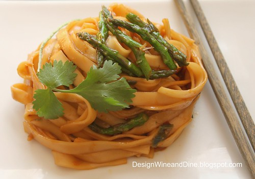 Spicy Peanut Sesame Noodles with Asparagus, Ginger and Scallion