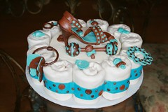 "blue and brown shoe baby shower cake • <a style=""font-size:0.8em;"" href=""http://www.flickr.com/photos/60584691@N02/5525356322/"" target=""_blank"">View on Flickr</a>"