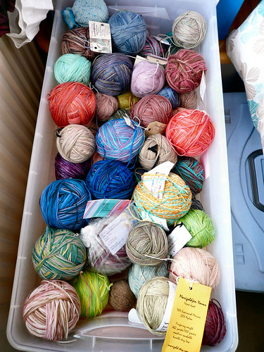 Box of sock yarns