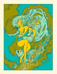 Poster (ilustracionamentador) Tags: woman fish art water poster design arte drawing victor posters draw ilustration desenho ilustrator rocha ilustraciones victorjam alligattor