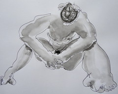 Renato 2011, seated 02 (Dona Mincia) Tags: bw distortion man art painting paper drawing study gesture quick seated inkpen unb nankin fromlife chinaink