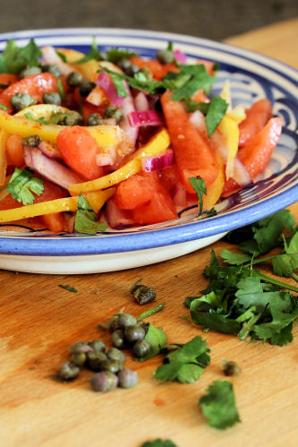 Moroccan preserved lemon & tomato salad with capers 1462 R