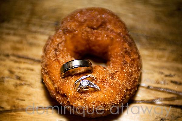 wedding rings and carper donut