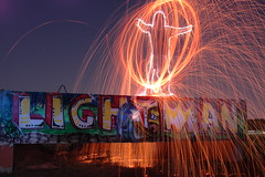 Fire Man (duane.schoon) Tags: light lightpainting night graffiti sarasota graff steelwool lightman firefirefire duanesphotos duaneschoon sparklerman
