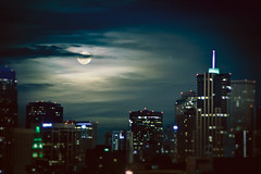 Perigee Moon (Armando Martinez) Tags: city moon night clouds downtown moody denver moonrise rise explore215 supermoon explore032011