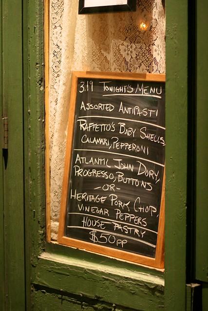 menu at torrisi