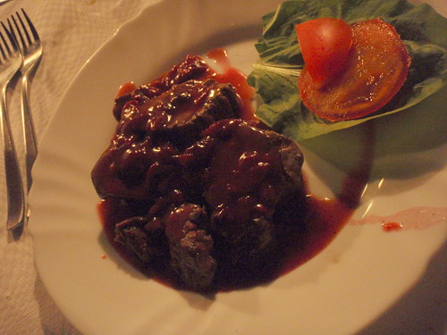 Tenderloin steak with cherries