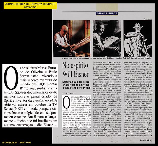 """""""No espírito Will Eisner"""" - Jornal do Brasil - 07/02/1999"""