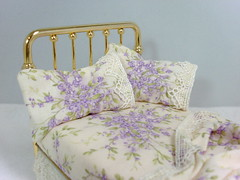 Sweet Lilac, Dollhouse Miniature dressed bed by Deb's Minis (debsminis) Tags: miniatures lace lilac romantic dollhouse brassbed dollhousefurniture debsminis debroberts