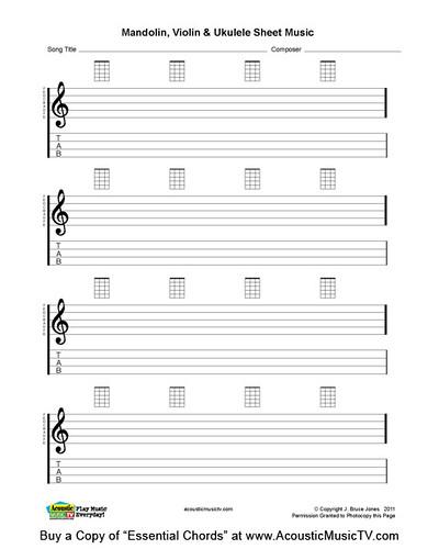blank sheet music. Ukulele Blank Sheet Music