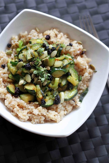 Brown Rice, Courgettes and Lemon Thyme