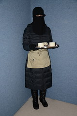 Slave Maid (Buses,Trains and Fetish) Tags: slave niqab hijab burka chador girl sweat torture warm hot winter waitress maid anorak coat fleece