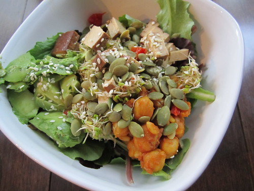 Salad with Curry, Tofu, Avocado, Sprouts and Seeds
