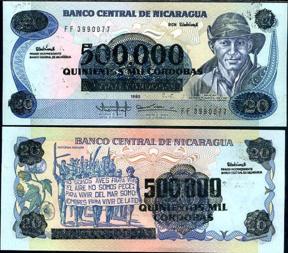 500 000 Cordobas Nikaragua 1990 pretlač, P163