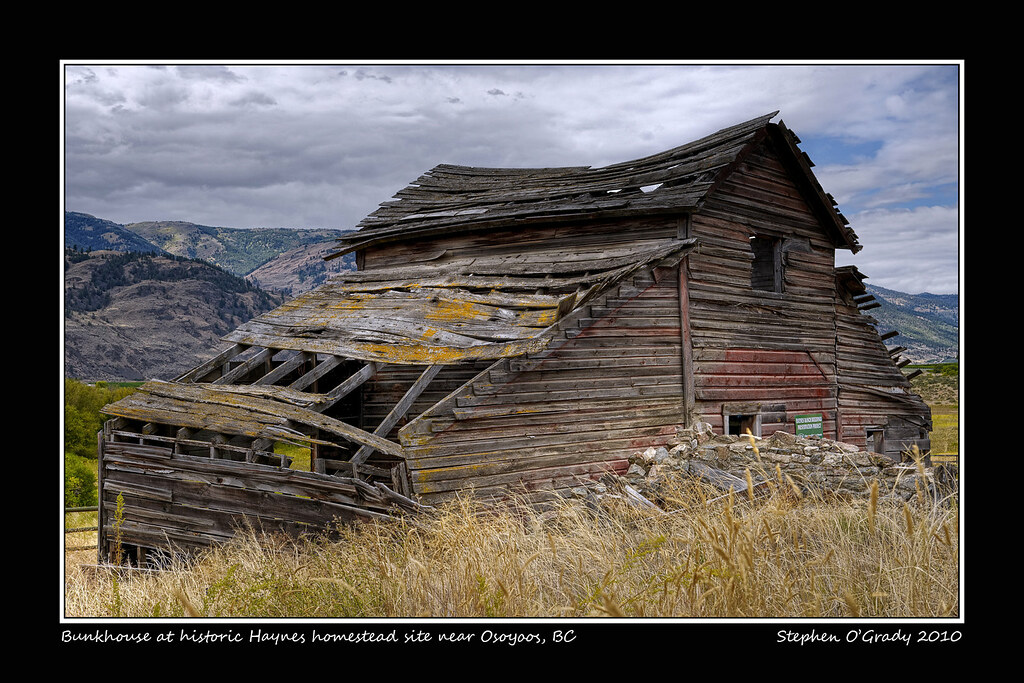 Bunkhouse at historic Haynes homestead site near Osoyoos, British Columbia