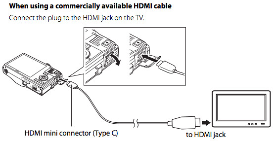 Connecting to a HDTV using a HDMI mini connector, on page 143 of the Nikon S8100 Manual