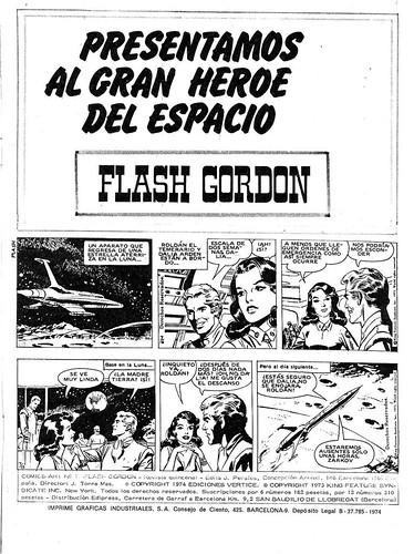 002-Flash Gordon Vol 1-nº1 Ediciones Vertice -reedicion 1974-1ª pagina