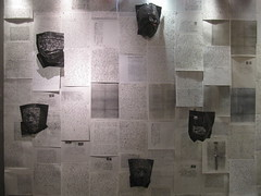 Letters from My Grandparents - Ruth Schreiber (Yeshiva University Museum Exhibitions) Tags: nyc sculpture rescue newyork france paper holocaust yum mask letters grandparents yu curator yeshivauniversity zacharylevine ruth centerforjewishhistory yeshivauniversitymuseum zacharypaullevine schreiber