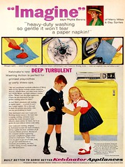 Turbulent Washing Action for Your Paper Napkins! (saltycotton) Tags: fashion vintage magazine children ad advertisement laundry 1950s washingmachine washer appliances 1959 kelvinator mccalls merrymites gaysprites