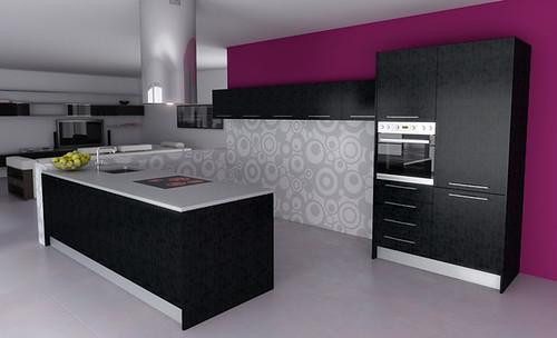 Llena tu hogar de color con los muebles de cocina en - Cocina color lila ...