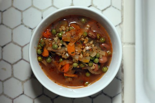 mixed vegetable and wheat berry soup